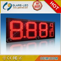 high brightness 12inch red color outdoor electronic gas station led price sign