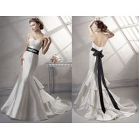 Strapless Sweetheart Wedding Dress Mermaid with Black Sash