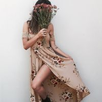 Boho Style Off Shoulder Backless Summer Holiday Casual Dress Floral Print Soft Chiffon Split Dress S