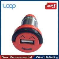 2.1a car charger, one USB port with smile face and aluminium alloy body shell