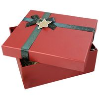 Custom Paper Cardboard Rigid Lid And Base Packaging Christmas Gift Box With Ribbon