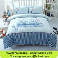 Reactive Dyeing Cotton Bed Linens Set Boat Printed Embroidered Bed Sheets Duvet Cover for kids