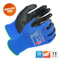13 gauge Blue A4 TERACUT® liner black Premium PU palm coated gloves (Working Protection TP-421)