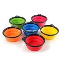 silicone dog product pet food water travel bowl