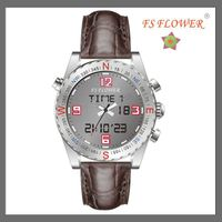 FS FLOWER --- SSX022-A Brown Geunine Leather Digital and Analog Compass Watches Swiss movt