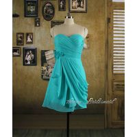 Turquoise Short Bridesmaid Dress, Chiffon Prom Dress, Homecoming Dress thumbnail image