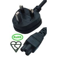 UK power cable plug with connector