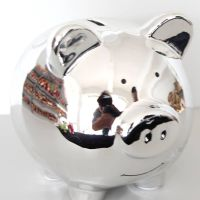 Lovely electroplated Pig Ceramic Money Saving Bank