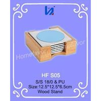 Colorful Round Metal Coaster Set with wood Stand