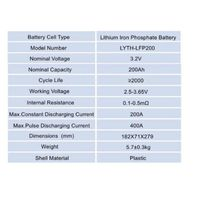 3.2V Lithium Iron Phosphate Battery Cells 12V 100Ah 200Ah Lifepo4 Battery Cell for Energy Storage thumbnail image