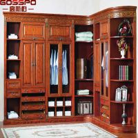 Villa Walk In Solid Cherry Wood Wardrobe Design