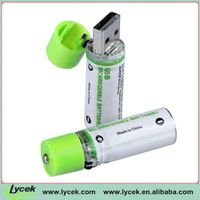 Professional LYCEK AA size usb rechargeable battery with roHs certificate