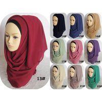 Wholesale Fashion Muslim Women Head Scarf Plain Chiffon Hijab thumbnail image