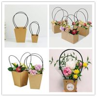 Kraft Paper Flower Packaging Gift Promotion Bag with PVC Handles