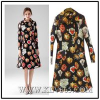 Popular Designer Women Fashion Vintage Printed Double Breasted Knee Length Long Trench Wrap Coat