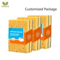 Topeco yellow cellulose sponge green scouring pad double side wood pulp