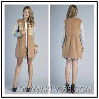 Western Style Women Fashion Winter Embroidered Slim Coat Wholesale