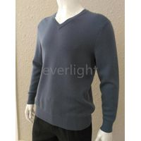 -men pure cashmere v-neck flat knitted grey pullover thick sweater in winter