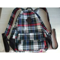 fashion cotton plaid school leisure backpack