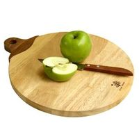 Small apple cutting board with walnut handle.