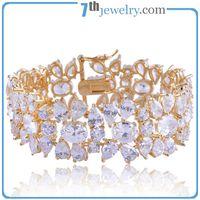 Fashionable 18K Gold Plated Cuff Bracelet with Shiny CZ Diamond thumbnail image