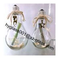 Clear 250ml milky tea glass bulb lamp shape bottle with stopper and alumite cap