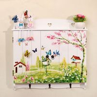 Faux window decoration butterfly print floating wooden shelves MB022 thumbnail image
