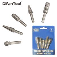 Difanmax 5Pcs Woodworking Rotary Burr Set Wood Carving File Rasp Drill Bit 6MM Shank