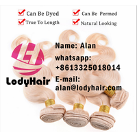 Lody hair products bleached Blonde color #613 platinum blonde Body Wave, Brazilian Virgin Human thumbnail image