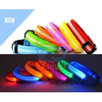 2.5cm Dog LED Nylon Collar Safety necklace Flashing Lighting Up Collar,Bear printing