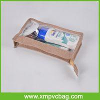 unique custom jute cosmetic Bag plain clear PVC makeup bag