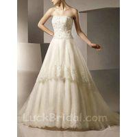 Enchanting Organza Strapless Wedding Dress Aline Empire Bridal Gown