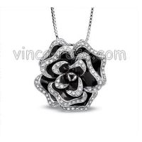 micropave silver pendants, gemstone jewelry, 925 silver jewelry,rose  pendant