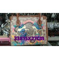 Batik painting leather bag