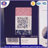 Anti counterfeit Qr code labels