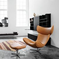 Replica Italian style leisure leather/PU accent relaxing chair with different chrome legs thumbnail image
