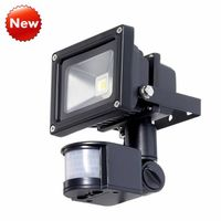IP65 Black 10W LED Flood Light With PIR Motion Detector