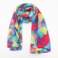 Wholesale Custom Design Printing Long Style Silk Chiffon Woman Neck Scarf