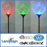 Cixi Landsign luxury series Color changing Crackle Glass Ball Solar Light Fixture 3-Pack