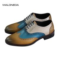 Handmade genuine leather oxfords dress shoes with goodyear welted for men