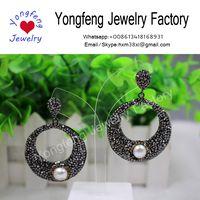 Wholesale freshwater pearls earrings,Circle ring earrings,paved rhinestone,snakeskin backside