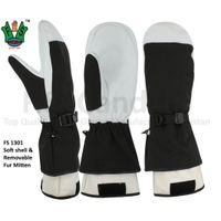 Soft shell & Removable Black Fur Warmest Mitten