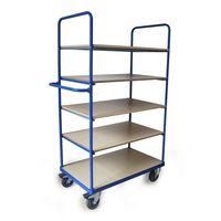 4 Shelves of Shelf Trolley with Single Horizontal Push Bar