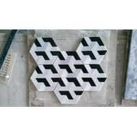 white and black marble floor mosaic