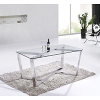 SHIMING MS-3358 Tempered glass square top coffee table with stainless steel frame