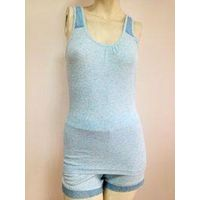 wemen's sleeveless cotton pajamas with lace design