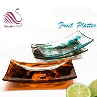 Kinglet Suanti Transparent Resin Blue Swirl Fruit Platter