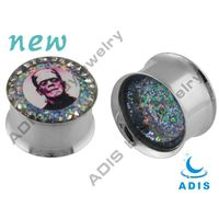 Double flared gem head portrait ear tunnels body jewelry