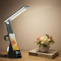 6 in 1 Table Lamps wireless charger with LED alarm clock & mobile phone holders for iPhone