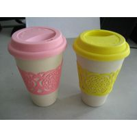Colorful Kids Tableware Biodegradable Bamboo Fiber Drinking Cup with Silicon Sleeve